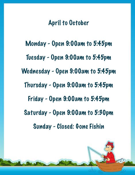 April to October Opening Times